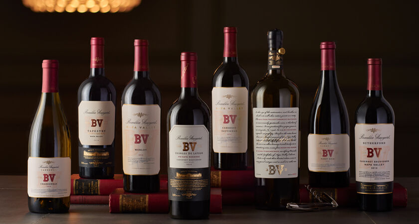 Lineup of BV Wines for Club Members: Merlot, Cabernet Sauvignon,  Chardonnay, Pinot Noir, Tapestry, Rarity