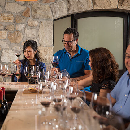 Wine Club Members Enjoying a Wine Flight in the Bealieu Vineyard Tasting Room