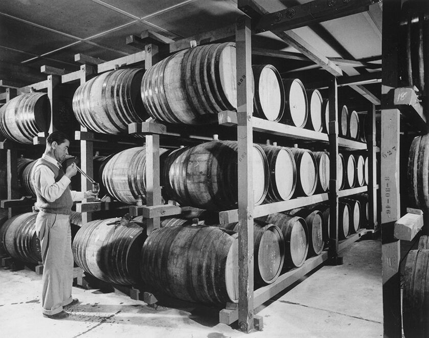 Historic photo of the making of Georges de Latour Private Reserve