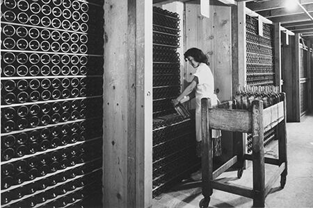 Historic photo of BV wines employee