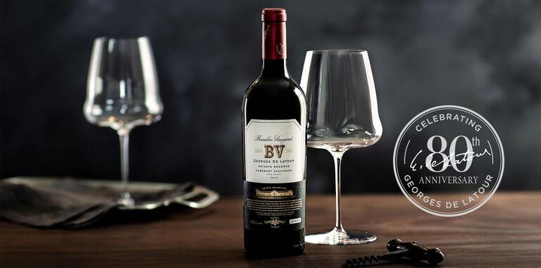 Georges de Latour Private Reserve Cabernet Sauvignon and Wine Glasses