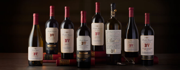 Lineup of BV Wines: Merlot, Cabernet Sauvignon,  Chardonnay, Pinot Noir, Tapestry, Rarity