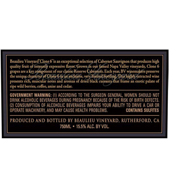 2015 Beaulieu Vineyard Reserve Clone 6 Rutherford Cabernet Sauvignon Back Label