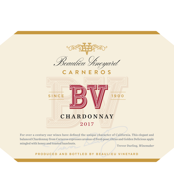 2017 Beaulieu Vineyard Carneros Chardonnay Front Label