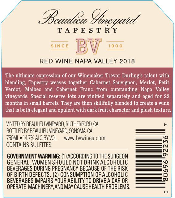 2018 Beaulieu Vineyard Tapestry Reserve Red Wine Napa Valley Back Label