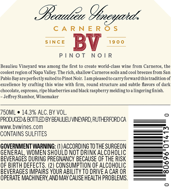 2016 Beaulieu Vineyard Carneros Pinot Noir Back Label