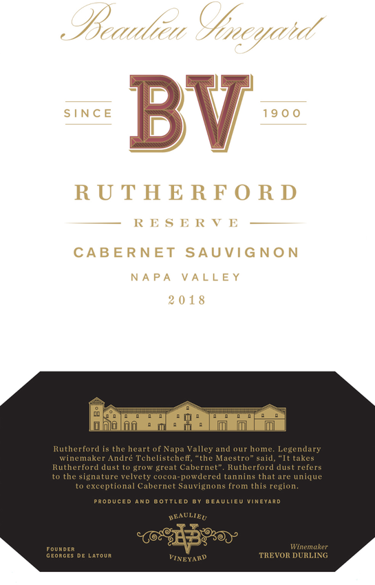 2018 Rutherford Reserve Cabernet Sauvignon Front Label