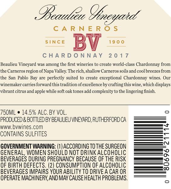 2017 Beaulieu Vineyard Carneros Chardonnay Back Label