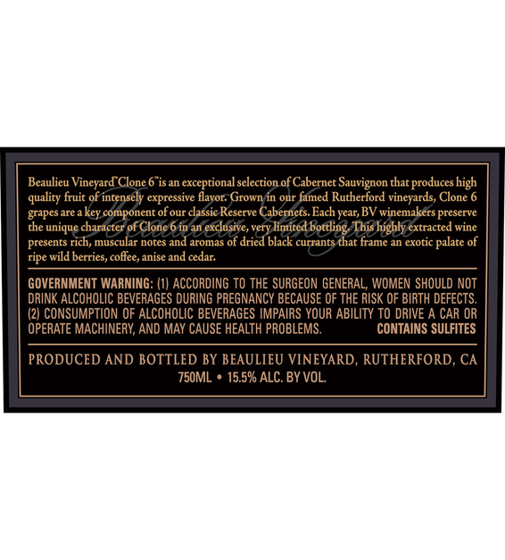 2014 Beaulieu Vineyard Reserve Clone 6 Rutherford Cabernet Sauvignon Back Label