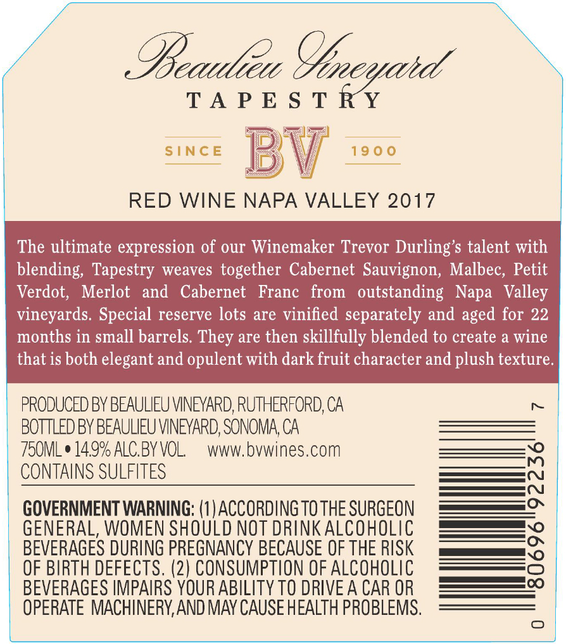 2017 Beaulieu Vineyard Tapestry Reserve Napa Valley Red Wine Back Label