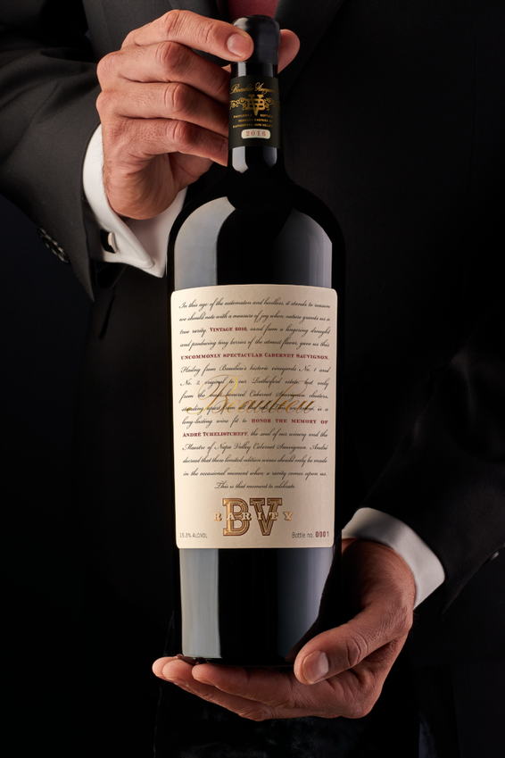 Sommelier Holding Bottle of 2016 Beaulieu Vineyard Rarity Cabernet Sauvignon