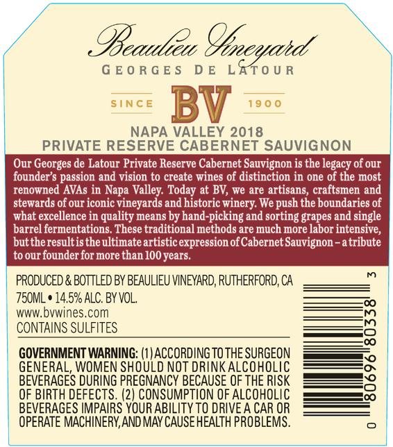 2018 Beaulieu Vineyard Private Reserve Georges de Latour Napa Valley Cabernet Sauvignon Back Label