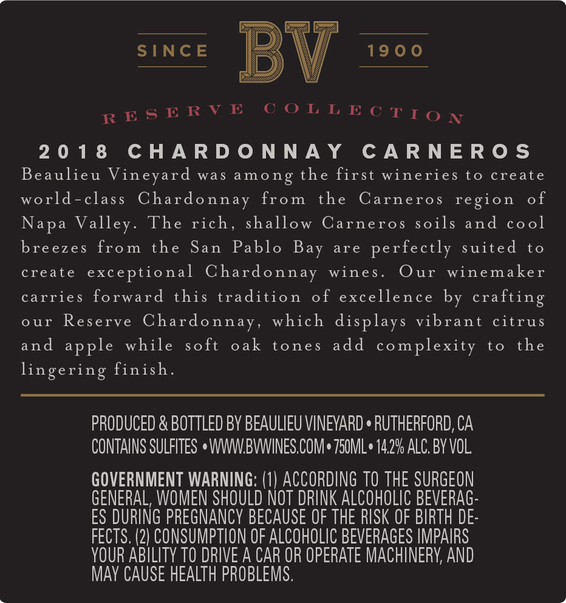 2018 Beaulieu Vineyard Reserve Carneros Chardonnay Back Label