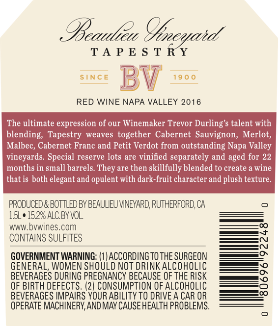 2016 Beaulieu Vineyard Tapestry Reserve Red Blend Back Label