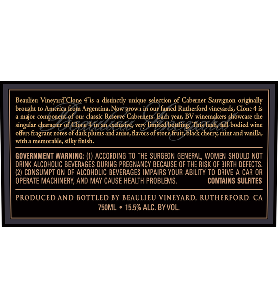 2014 Beaulieu Vineyard Reserve Clone 4 Rutherford Cabernet Sauvignon Back Label