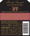 2018 Rutherford Reserve Cabernet Sauvignon Back Label, image 3