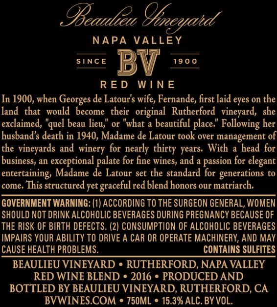 2016 Beaulieu Vineyard Madame de Latour Rutherford Red Blend Back Label