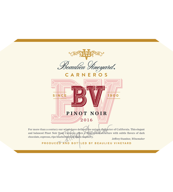 2016 Beaulieu Vineyard Carneros Pinot Noir Front Label