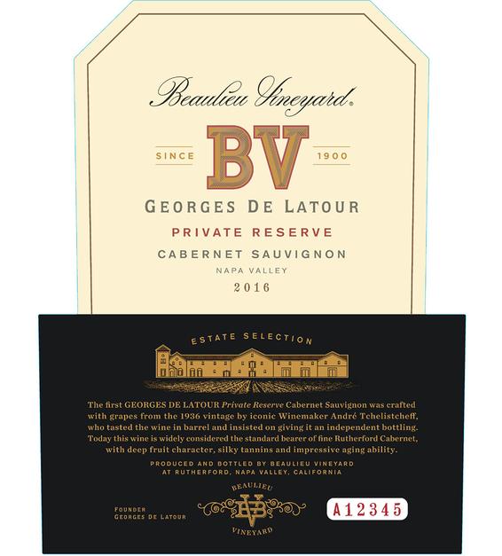2016 Beaulieu Vineyard Georges de Latour Private Reserve Napa Valley Cabernet Sauvignon Front Label